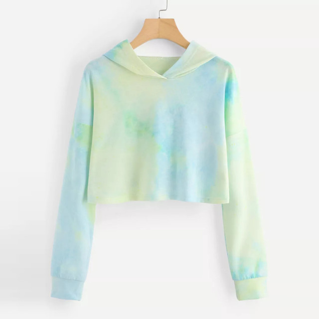 Women Sweatshirt Sexy Cropped Hoodie Tie Dyeing Patchwork Tops Autumn Women Friend Hoodies Long Sleeve Crop Tops sudadera mujer