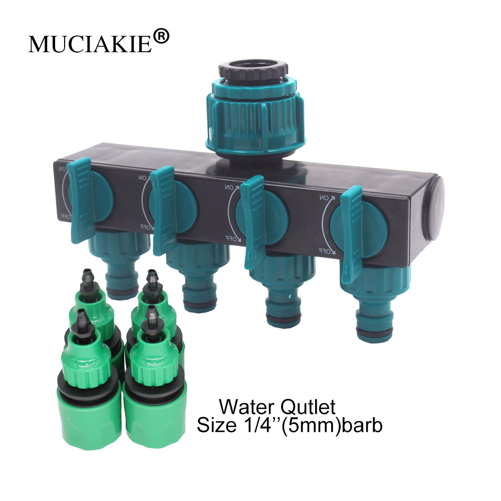 MUCIAKIE 1PC 4-Way Water  Splitter Automatic Watering Irrigation Controller Adapter Supplies 4/7 Or 8/11 Hose Connector