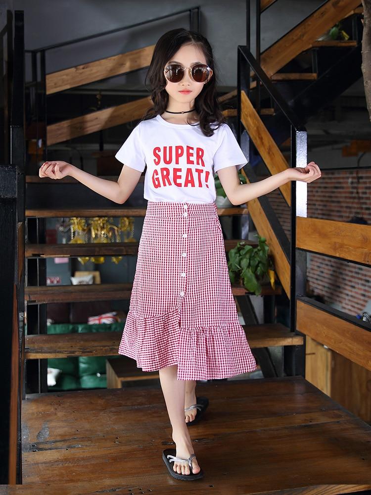 Filles filles 2019 vêtements d'été nouveau Style enfants à manches courtes ensemble de vêtements costume jupe grand garçon style coréen Style occidental décontracté - 2
