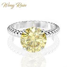 Wong Rain anillo de compromiso de boda de GEMA de zafiro citrino, moissanita, 100% Plata de Ley 925, joyería fina, venta al por mayor