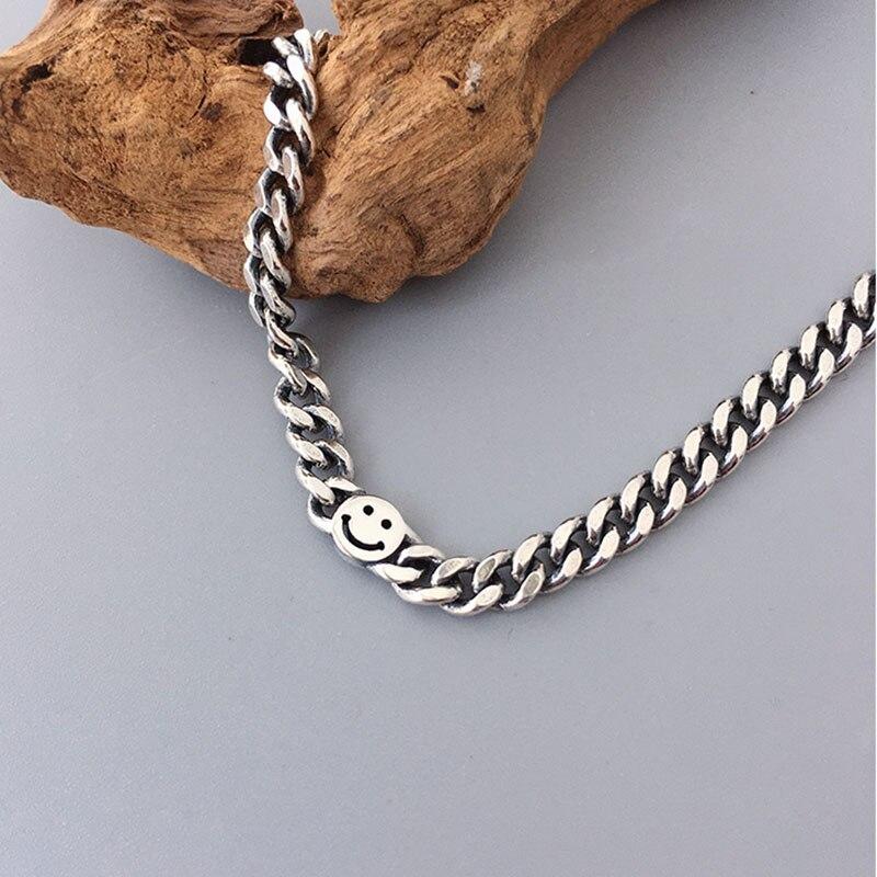 XIYANIKE 925 Sterling Silver Trendy Bracelet for Women Vintage Handmade Smiling Face Bracelets Fine Jewelry Birthday Gifts