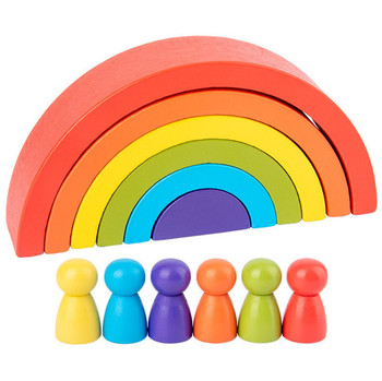 Baby Toys Montessori 12Pcs Rainbow Building Blocks Wooden Toys For Kids Preschool Teaching Aids Educational Blocks montessori wooden rainbow blocks baby toys wooden toys for kids creative rainbow building blocks montessori educational toy