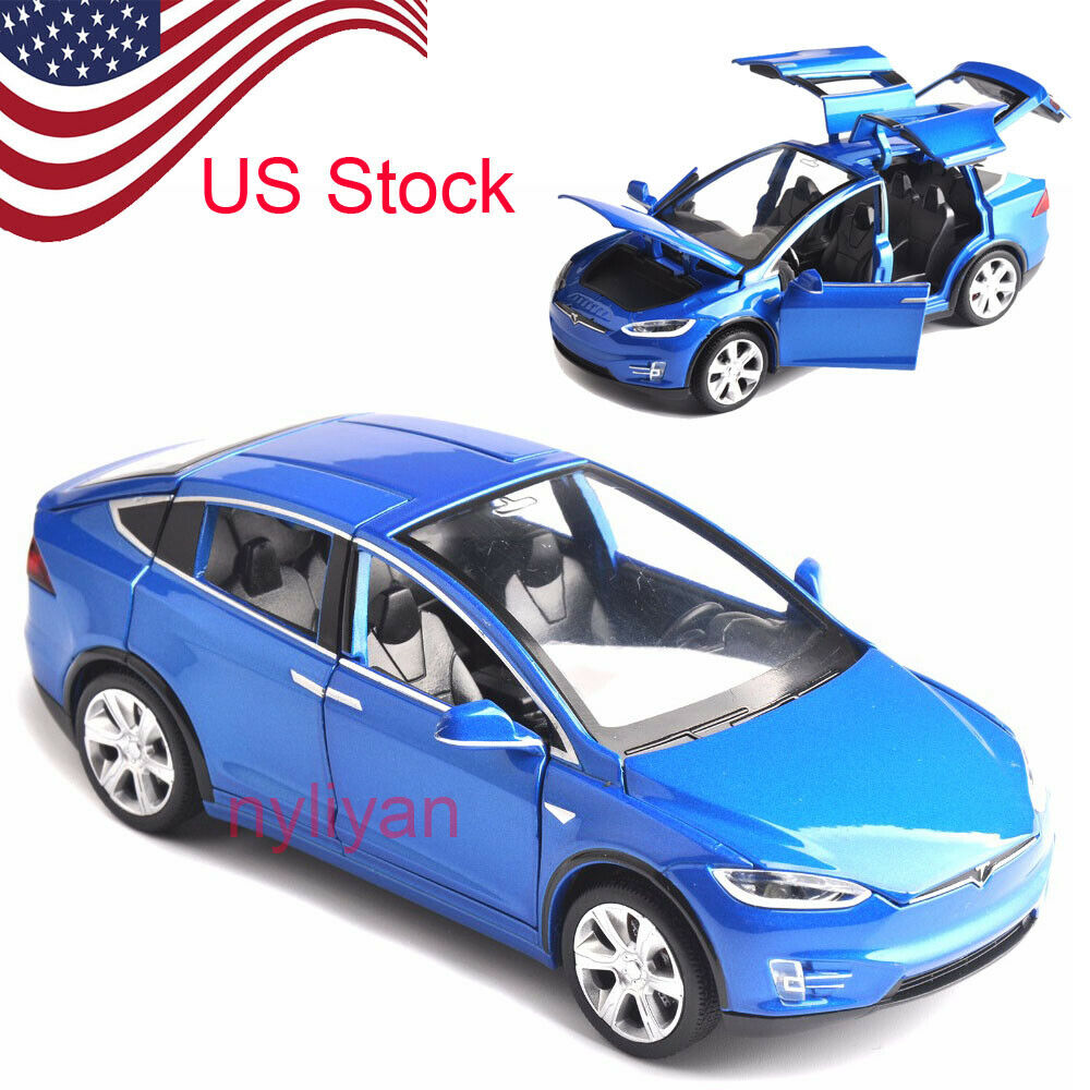 1:32 Scale W Sound&Light Pull Back Model Car X90 Tesla Blue Red Black Alloy Diecast Model Cars Kids Toys Collection US STOCK