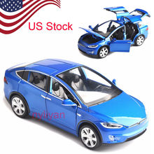 1:32 Scale W Sound&Light Pull Back Model Car X90 Tesla Blue Red Black Alloy Diecast Cars Kids Toys Collection US STOCK