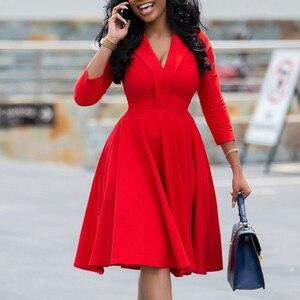 Women Red A Line Dress Office Ladies Elegant Pleated V Neck Three quater Sleeves Knee Length Vestidoes Elastic Plus Size Female
