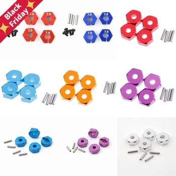 4pcs 12MM Aluminum Wheel Hex Nut With Pins Drive Hubs 4P HSP 102042 1/10 Upgrade Parts For 4WD RC Car Himoto image