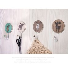 Handmade Nordic Elk Printing hook Multi-Purpose Door Hook Clothing Hat Hanging Hold Cloth Towel Draining Dry Rack Hanger Hook(China)