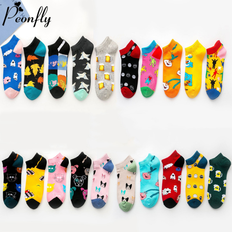 PEONFLY Spring New Women Cotton Socks Novelty 2020 Summer Cute Cartoon Cat Sheep Animal Ankle Socks Korean Short Casual Socks