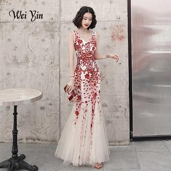 AE0102 2020 Sexy V-neck Sequin Sleeveless Long Evening Dress Women Elegant Long Evenning Party Dress