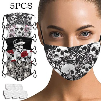 5PC Mask 10Filter Adult Skull Unisex Half Washable Face Mouth Cover Mask Outdoor Sunscreen Practical Stylish Dustproof Antiviral image