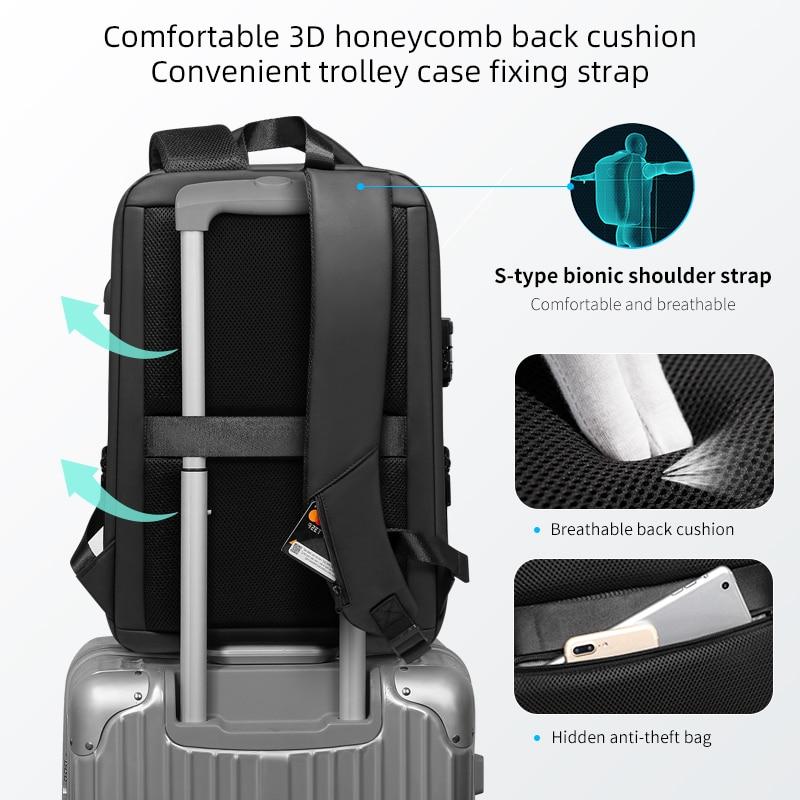 Fenruien Brand Laptop Backpack Anti-theft Waterproof School Backpacks USB Charging Men Business Travel Bag Backpack New Design 4