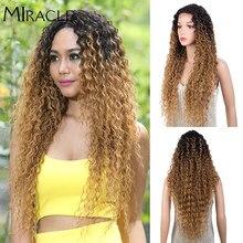 Perruque Lace Wig synthétique ondulée naturelle, 30 pouces, perruque Afro crépue bouclée en Fiber de haute température avec raie Blonde pour femmes noires, miracle