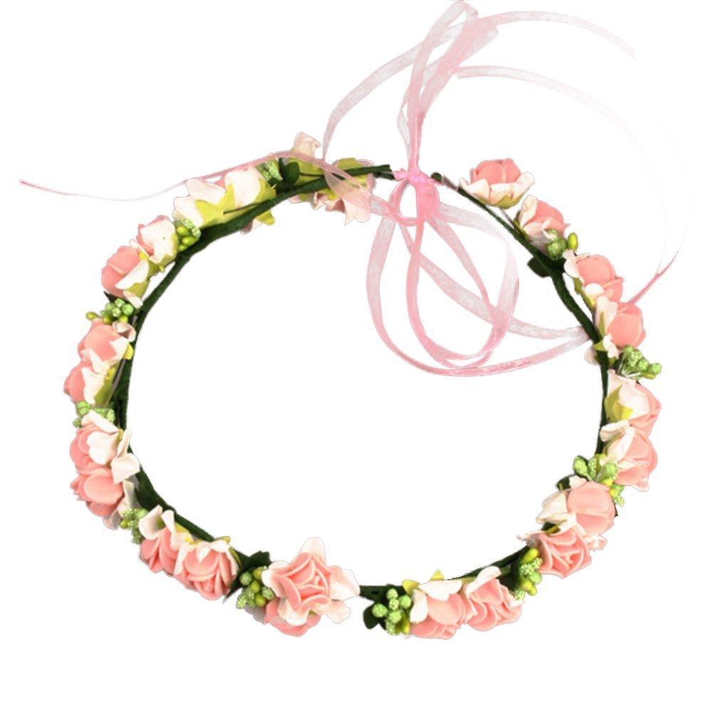Bride Flower Crown Sweet Women Hair Band Wedding Garlands Rose Headband Fashion Girls Ribbon Wreath Elastic Hair Accessories D30