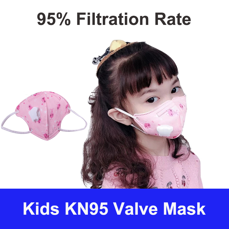 KN95 5 Layers Kids Mascarillas Face Mask for 3-12 years Child Valved Filter Respirator Protective KN95 Children Masks Dustproof