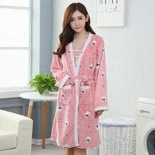 Winter Warm Coral Fleece 2PCS Robe Set Female Kimono Bathrobe Gown Flannel Sleepwear Home Clothing Young Lady Casual Nightwear