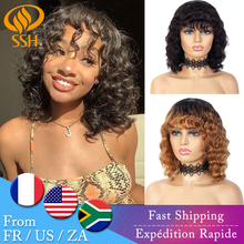 Bob-Wig Bang Highlight Short Remy-Hair Fringe Cheap Wig Curly Balayage Loose Women Brazilian
