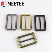 Meetee 4pcs 38mm Rectangle Adjustment Metal Bag Belt Buckles Decoration DIY Sewing Backpack Strap Accessories F2-15