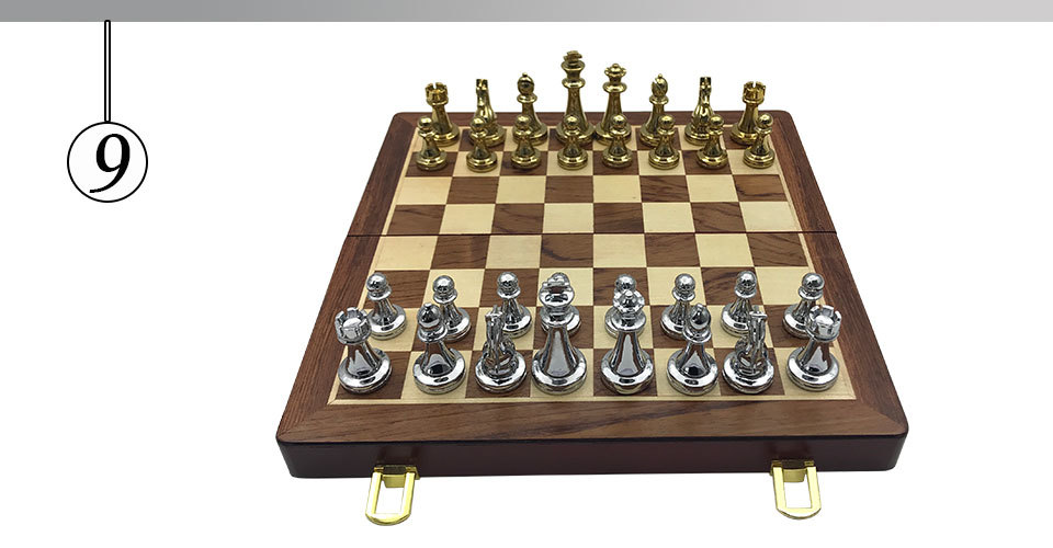 Easytoday Metal Glossy Golden And Silver Chess Pieces Solid Wooden Folding Chess Board High Grade Professional Chess Games Set (9)