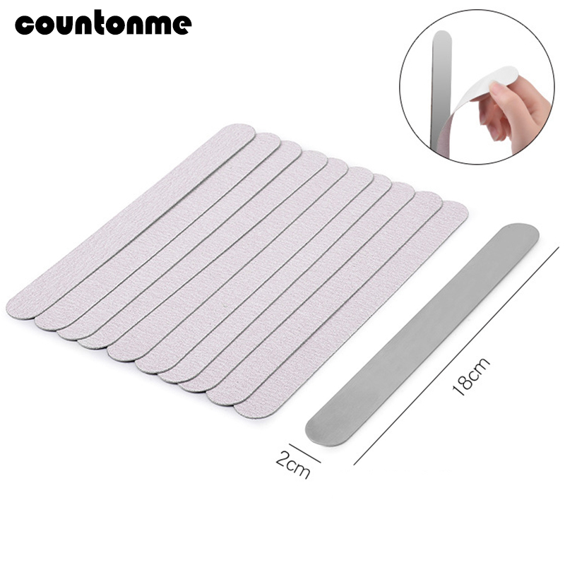 10pcs Removable Sand Paper Nail File With Metal Handle Lime A Ongle Grey Double-sided Replacement Nail File 100/180