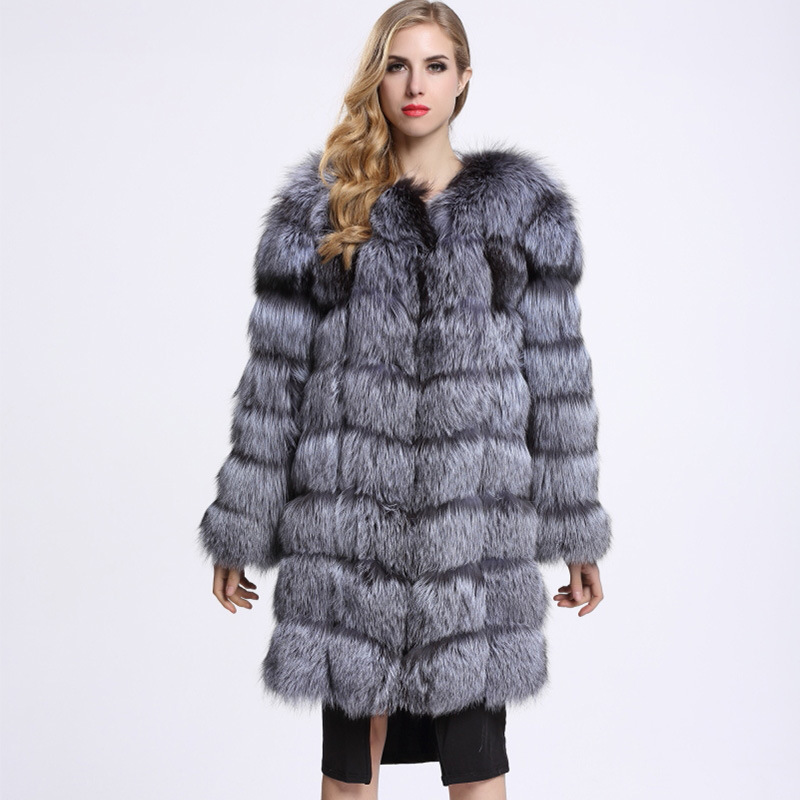 ZADORIN Furry Silver Fox Fake Fur Coat Fluffy Thick Warm Winter Women Luxury Long Fur Coats 2019 Ladies Overcoat Streetwear