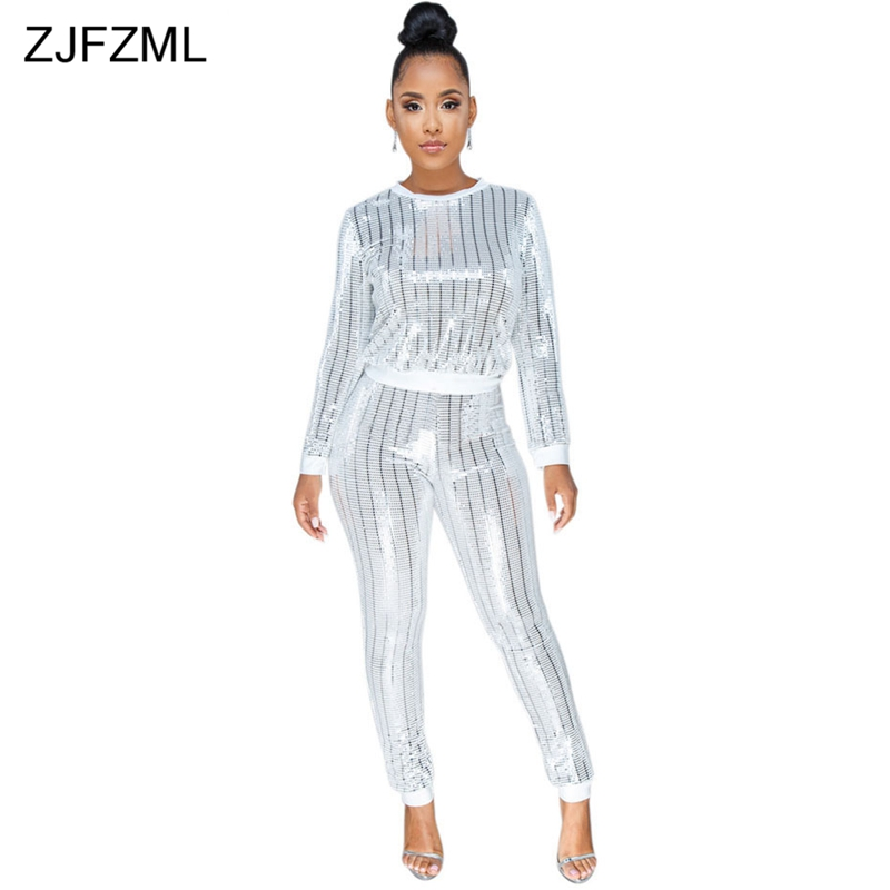 ZJFZML Plus Size Casual 2 Piece Outfits For Women's Suit Long Sleeve Sequins Top And Party Club Pencil Pant Fall Two Piece Sets