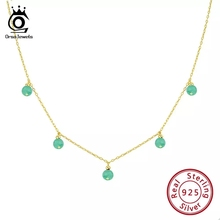 ORSA JEWELS 925 Sterling Silver Choker Necklaces For Women Natural Green Stone Aventurine Beads Gold Color Chain Jewelry OSN149