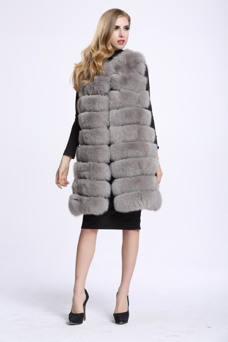 Image 2 - Medium And Long Fashion Fox Fur Vest Womens Winter Fur Coat Vest  Artificial Fur Fuake  Jackets Plus Size Overcoat S 3XLFaux Fur   -