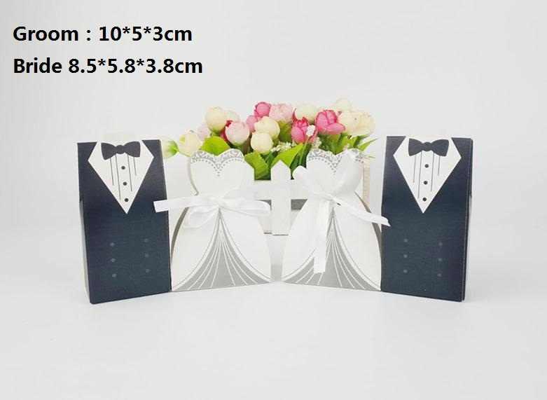 1 คู่แต่งงานชุดและ Tuxedo Favor กล่องริบบิ้นงานแต่งงานโปรดปรานกล่องเจ้าบ่าวและเจ้าสาวของขวัญกล่อง