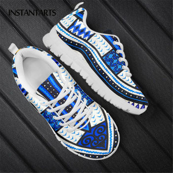 INSTANTARTS African Tribal Fabric Printed Women Flat Shoes Lightweight Soft Mesh Sneaker for Female Hot Sale Footwear Zapatos