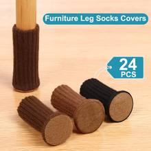 24 PCS Knitted Chair Leg Socks High Elastic Furniture Socks Pads Non-Slip Furniture Feet Caps Covers for Protect Floor