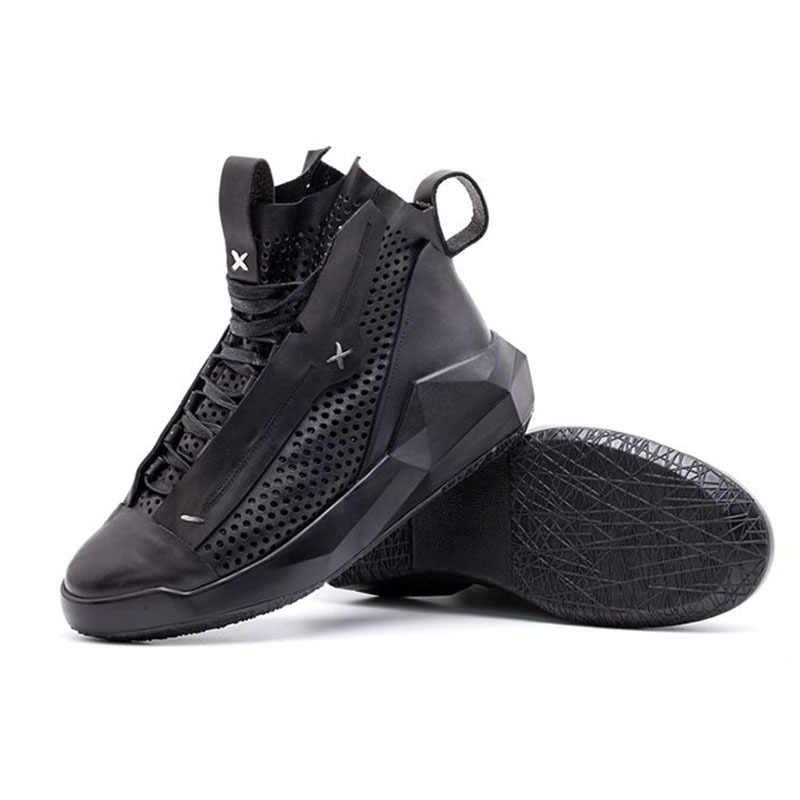 Baru Pria Kulit Asli Pelatih Sneakers Renda Hollow Keluar Fashion Sepatu Pria Tebal Platform Kasual Sepatu Zapatos