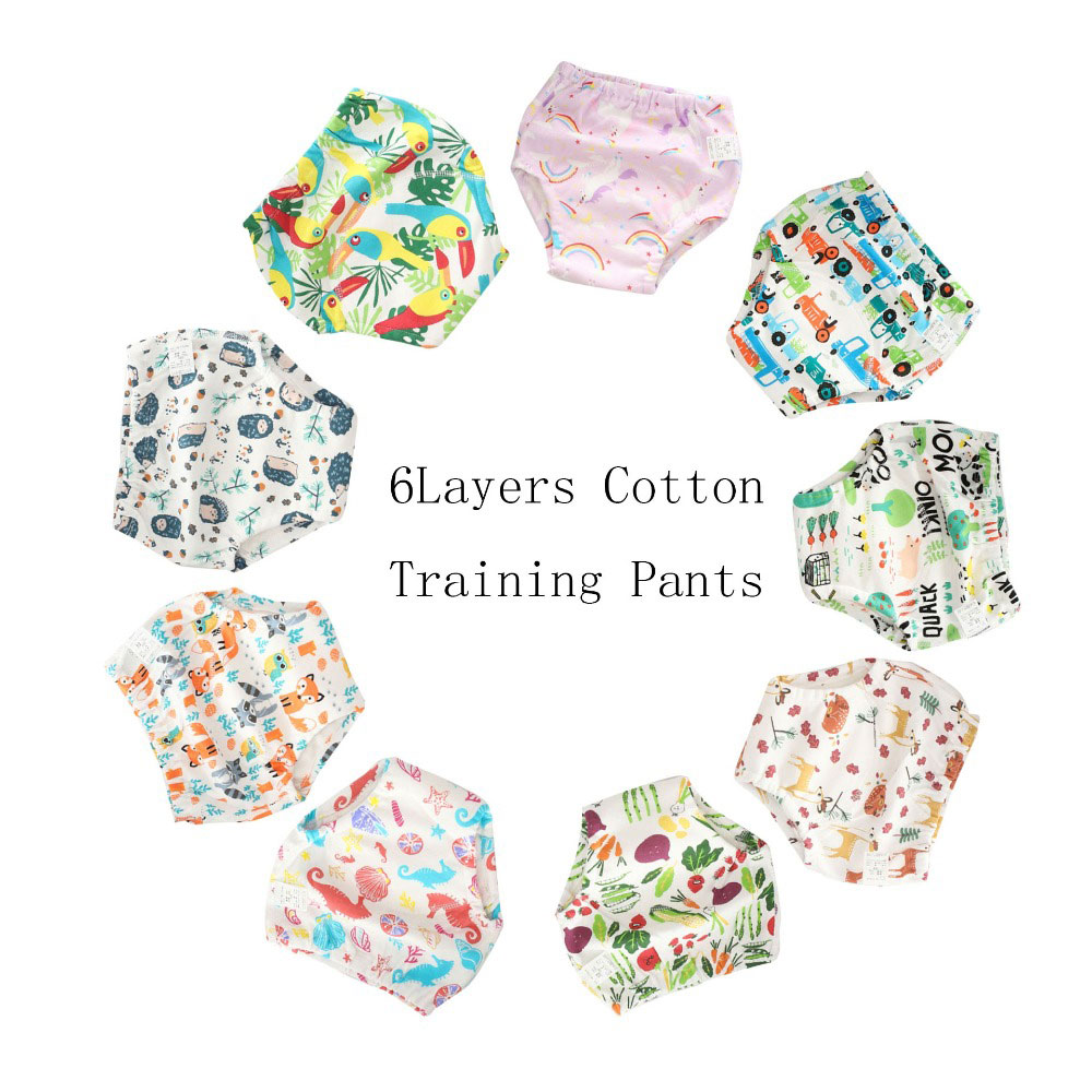 10 Pcs Cotton Reusable Baby Training Pants Kids Underwear Cloth Diaper Nappies Infant Waterproof 6 Layers Potty Training Panties