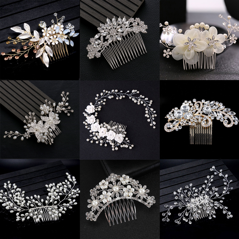 Mix Style Elegant Crystal Pearl Flower Hair Jewelry Wedding Hair Accessories Hair Comb Bridal Hair Clips Tiara Hair Ornaments