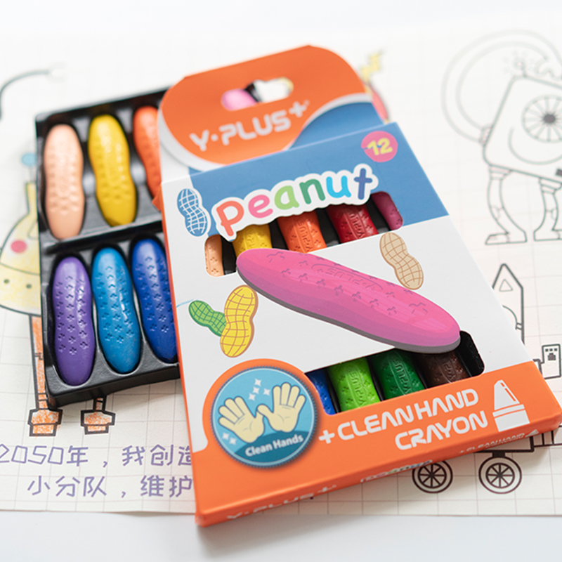 Washable Cute colored peanut crayons for children without dirty hands