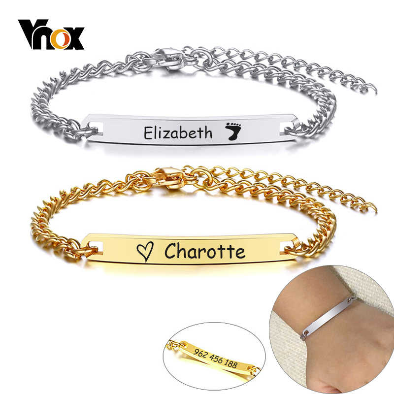 Vnox Adjustable Length Kids Babi ID Bracelets Anti Allergy Stainless Steel Girl Boy Children Anti Lost Jewelry Custom Name Phone
