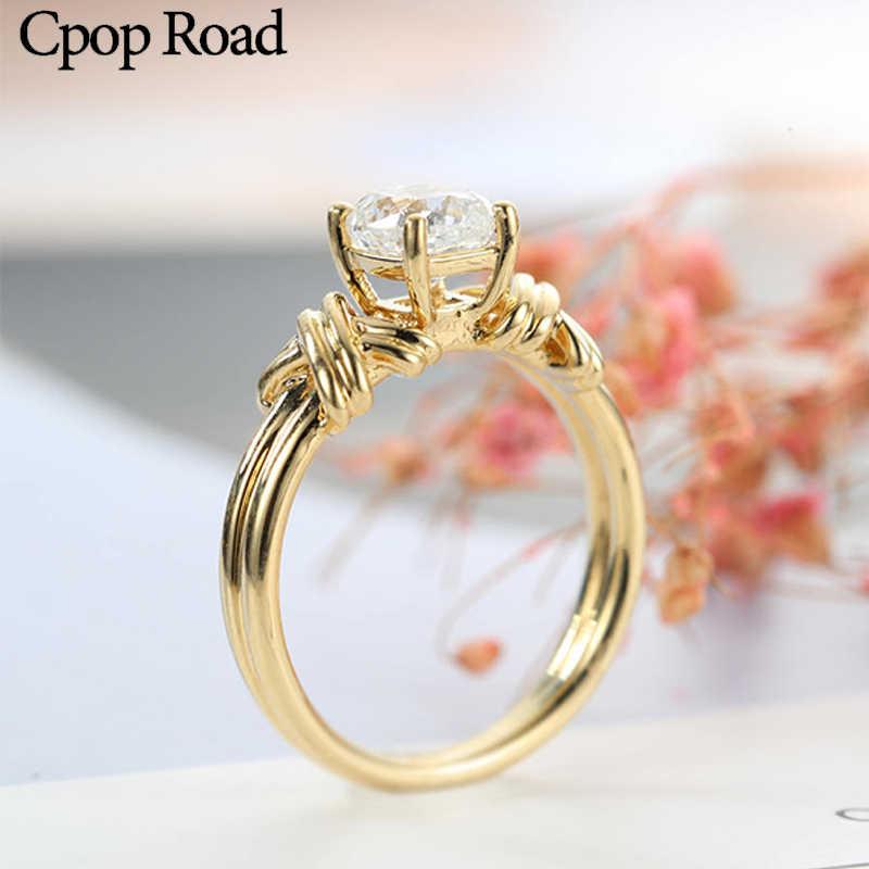 Cpop vintage entrelaçado padrão anel de ouro zircão anel de casamento moda aniversário jóias feminino acessórios festa presentes venda quente