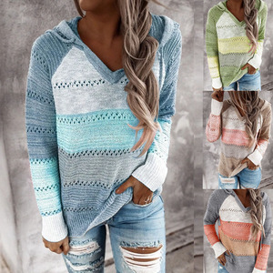2020 Autumn Patchwork Sweater Women Casual Striped Hooded Knitted Sweater Tops Fashion Long Sleeve V-Neck Female Pullover Jumper