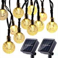 50 led 10m sfera di cristallo luce solare IP65 esterno impermeabile stringa fata lampade ghirlande da giardino solari decorazione natalizia