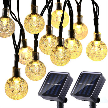 Crystal Ball Outdoor Solar Fairy String Lights Garden Decorative Lights