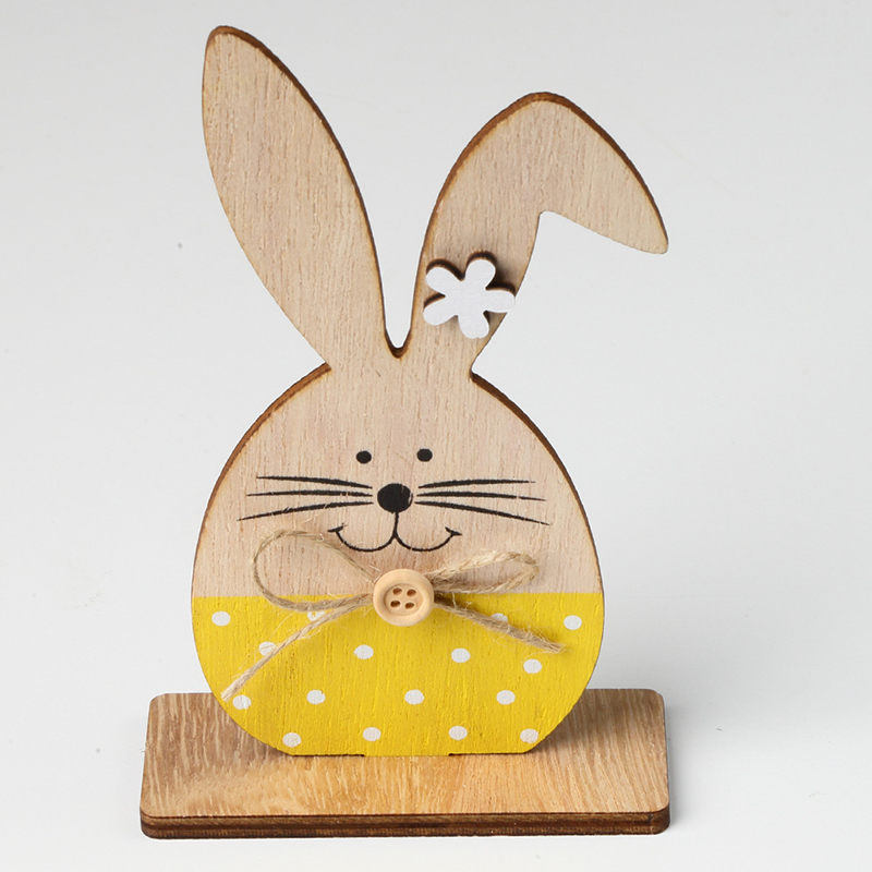 3 X Bunny Rabbit Spring Hanging Decorations Handmade Real Wood Multi