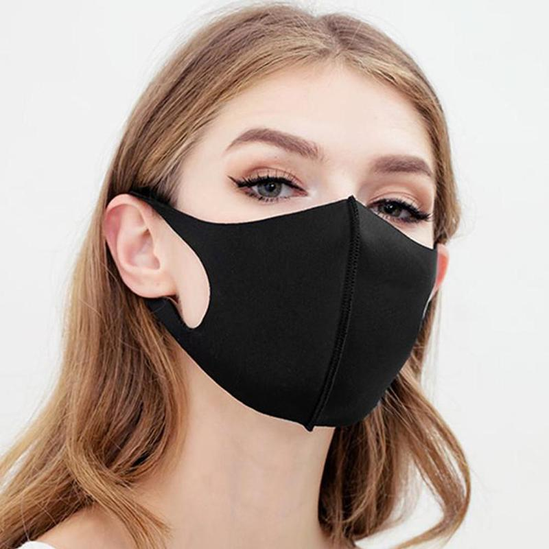 3Pcs Breathable Unisex Sponge Face Mask Black Mouth Mask Reusable Anti Pollution Face Shield Wind Proof Mouth Cover Wholesale