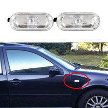 2 X Turning Lampen Side Lights Marker Lichten Voor Vw 2000-2004 Jetta Golf Spatbord Verlichting Met Clear Lens links/Rechts(China)