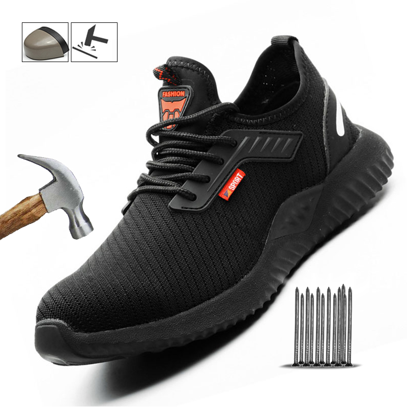 Manlegu Indestructible Safety Shoes Work Steel Toe Cap Security Shoes For Men Lightweight Summer Sports Shoes Dropshipping