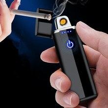 Encendedor eléctrico USB de encendido táctil arco de Plasma tungsteno bobina encendedores Metal cigarrillo electrónico novedad Gadgets para hombres
