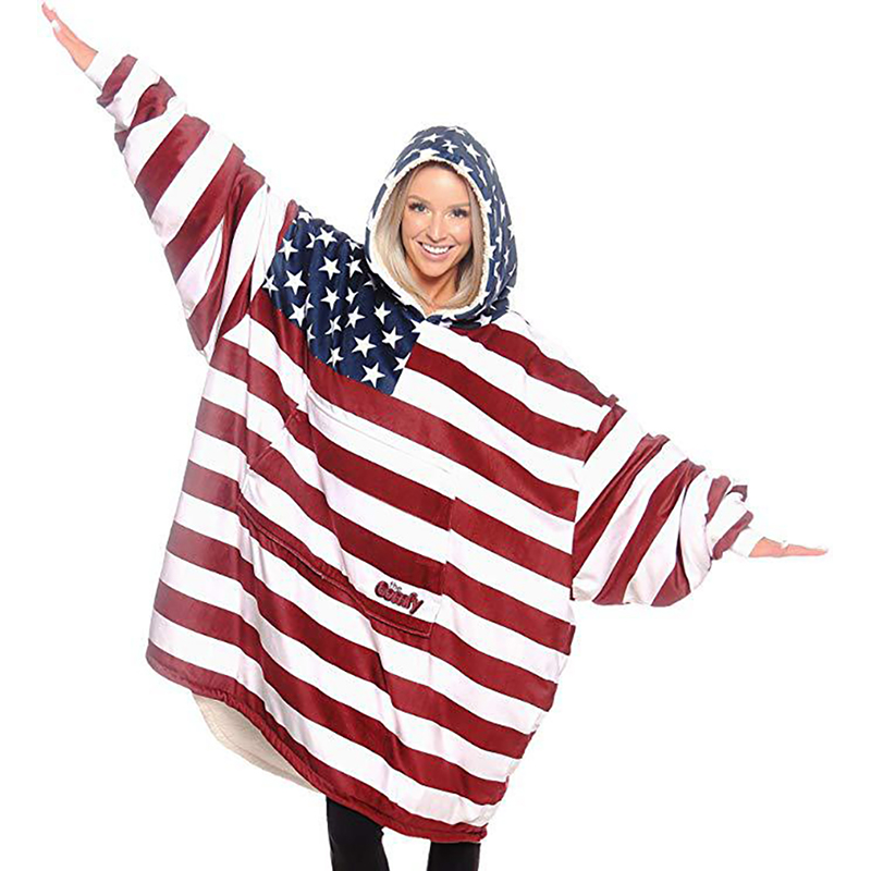 Winter Outdoor Huge Fuzzy Hooded Blankets Soft Warm Comfy Hoodie Sweatshirt Pullover Sofa TV Lazy Fleece Blanket With Sleeves