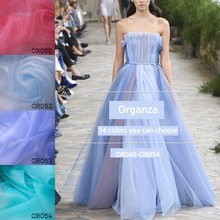 1meter High-grade white encryption transparent organza fabric Diy dress skirt clothing material designer OR049-OR054