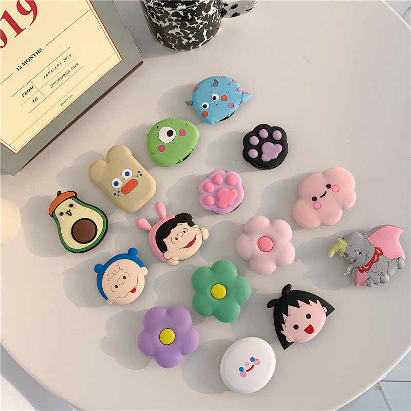 3D Cute cartoon flower fold finger grip mobile phone holder for iphone samsung xiaomi huawei case silicone holder stand bracket