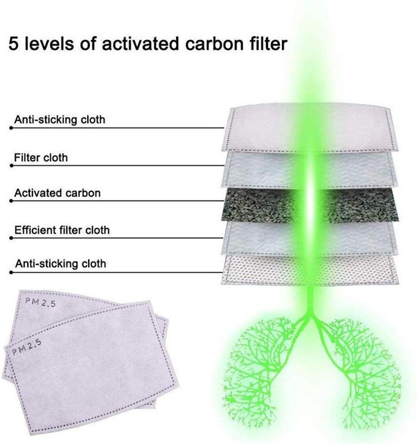10Pcs/Set PM2.5 Anti Haze Mouth Mask Replaceable Filter-slice 5 Layers Non-woven Child Kids Activated Carbon Filter 4