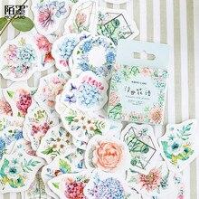 45 pçs/caixa estações de flor decorativo diário caderno adesivos vara etiqueta