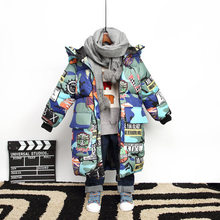 Jacket for Boys New Brand Hooded Winter Jackets 2019 Kids ClothesGraffiti Camouflage Parkas For Teenagers Boys Thick Long Coat(China)